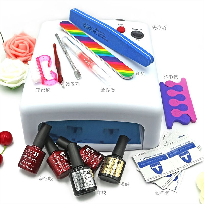 NEW  Lulaa 10 in  36W UV lamp 7 of Resurrection nail tools and portable package five 10 ml soaked UV glue gel nail polish set