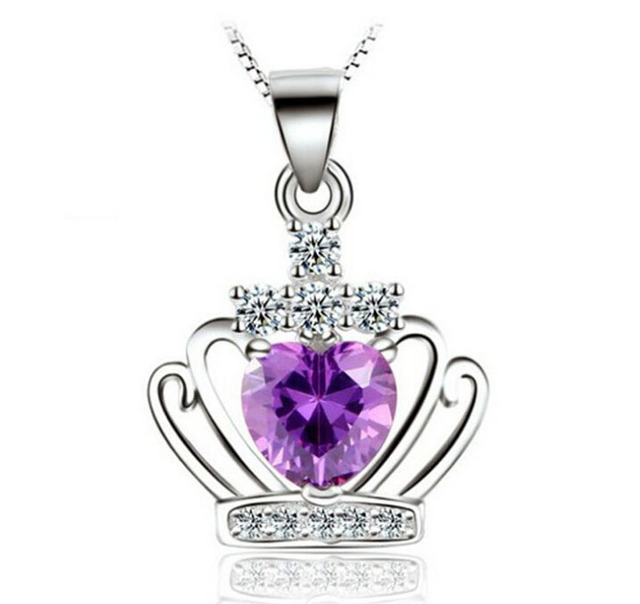 Aliexpress buy long necklace pendants for women fashion long necklace pendants for women fashion crystal crown purplesilver 925 sterling silver overlay white mozeypictures Gallery