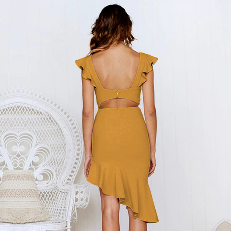 2019 summer new women 39 s V neck sexy backless high waist ruffled irregular ladies knee length dress in Dresses from Women 39 s Clothing