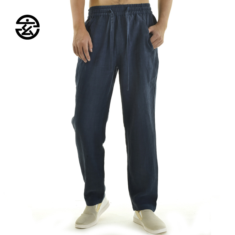 China clothing drop crotch joggers in 100% linen man pants new arrival 2017 made breathable mens loose fit pants