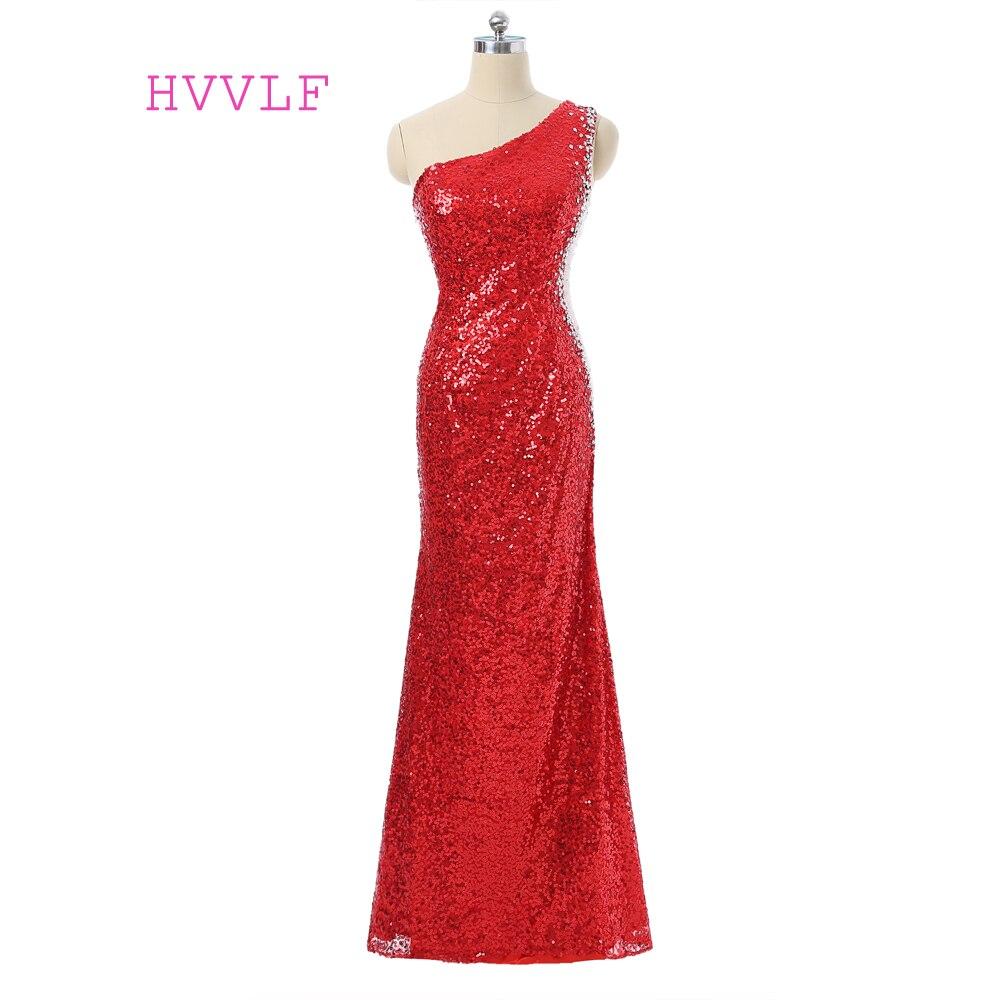 Robes De soirée rouge 2019 sirène à une épaule voir à travers les paillettes perlées fente Robe De soirée femmes longue Robe De soirée Robe De bal