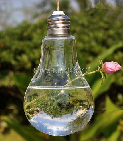 moda caliente luz bombilla forma colgante cristal terrarios jarrones planta de aire suculentas terrario para la