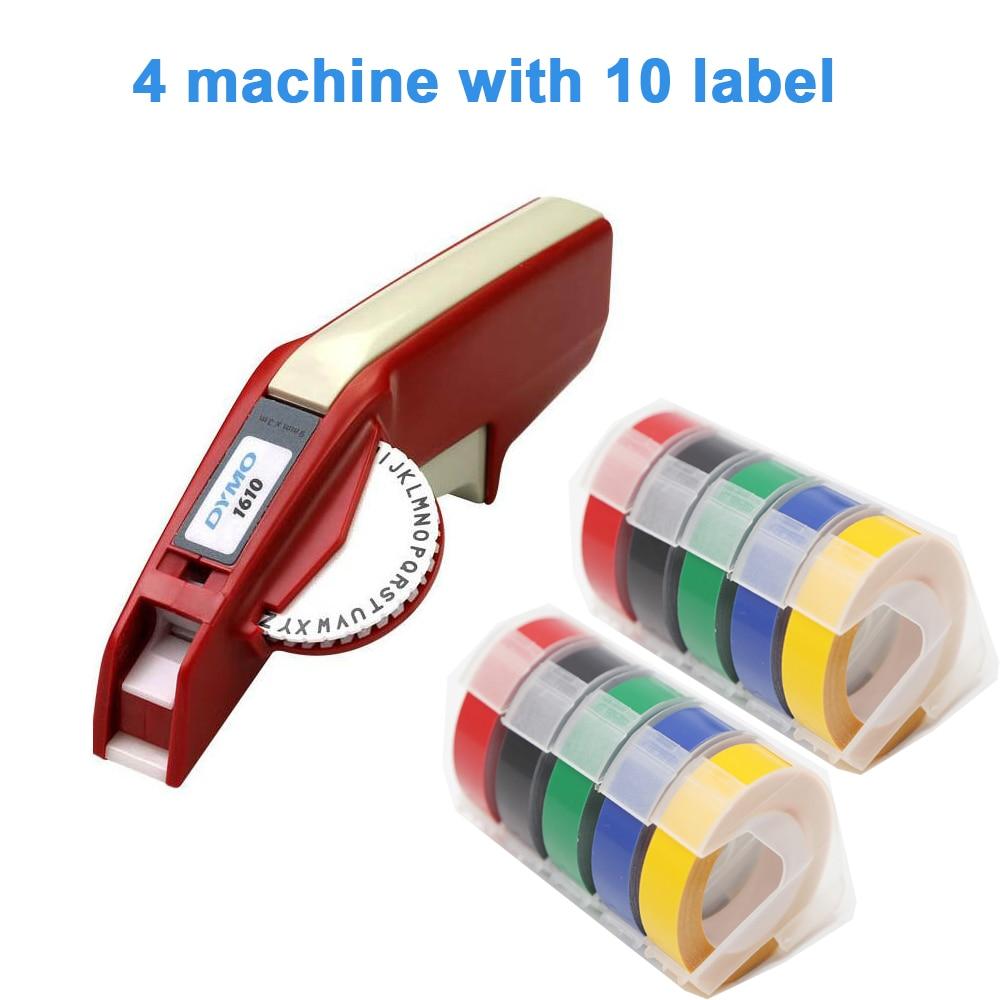 4pcs Dymo 1610 manual label maker for 3D embossing plastic 1610 label printer 1610 For Dymo organizer Xpress manual machine CIDY multicolor motex e101 printer mini diy hand compatible for dymo 3d embossing manual tape manual typewriter lettering machine