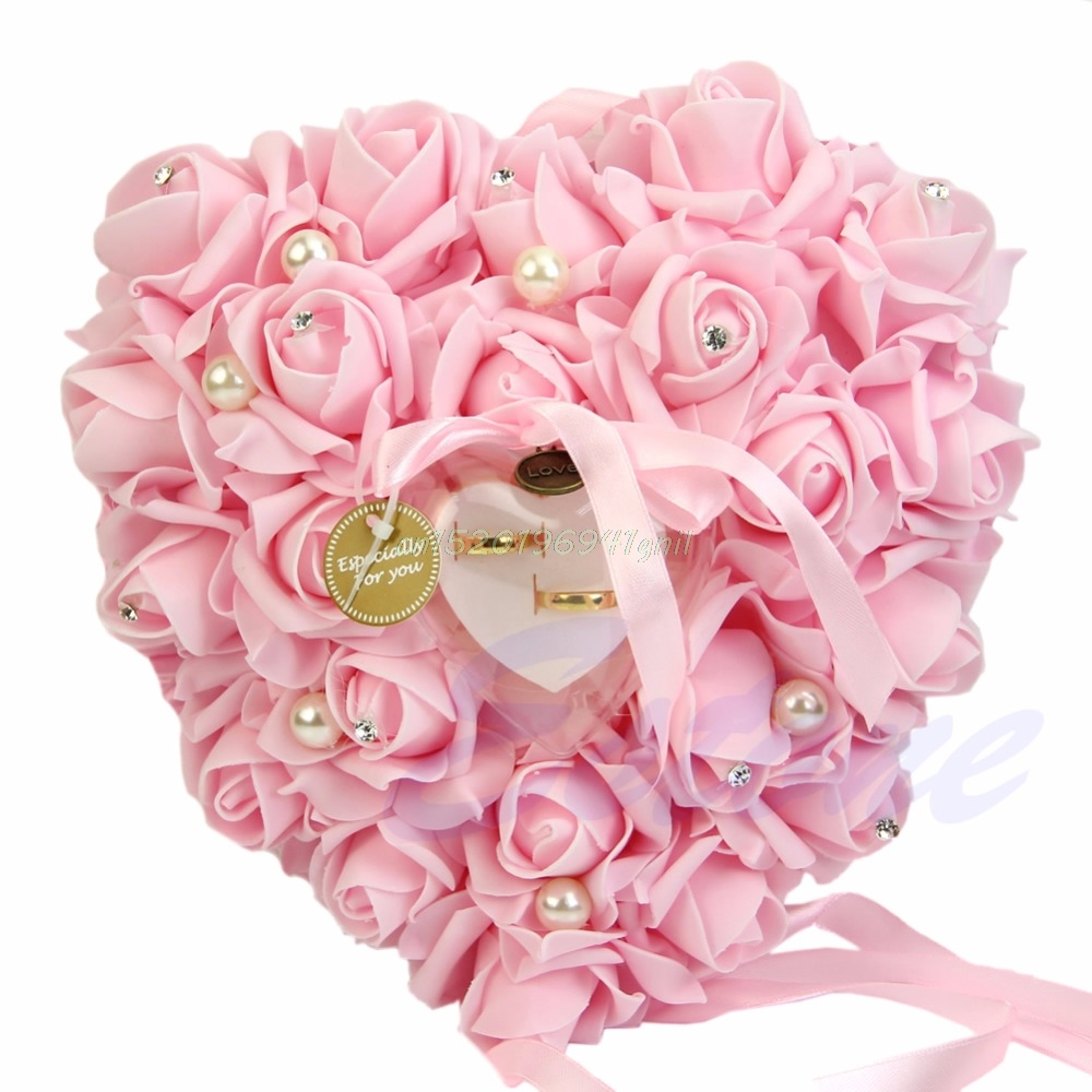 Elegant Rose Wedding Favors Heart Shaped Design Gift Ring Box Pillow ...