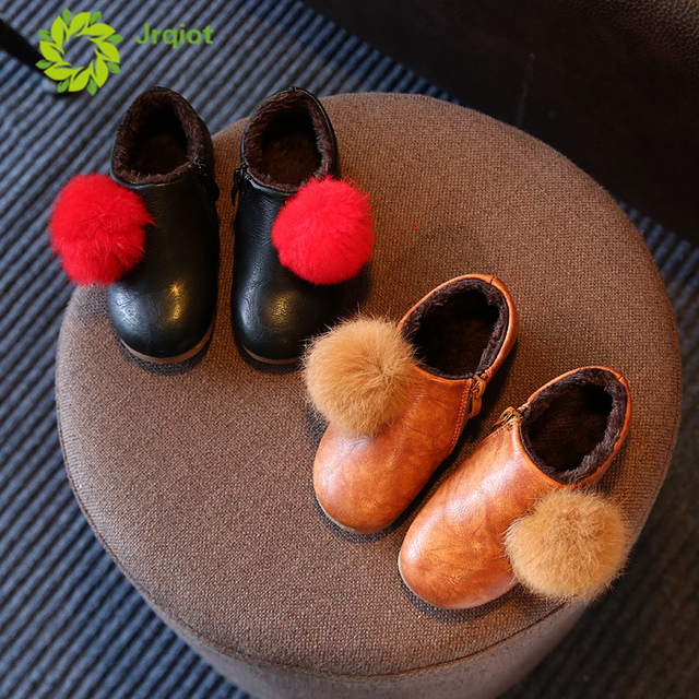 JRQIOT 2017 Winter New Children Shoes Rubber Rabbit Fur Plus Cotton Leather  Girls Cotton Boots Princess Shoes Casual Girl Shoes