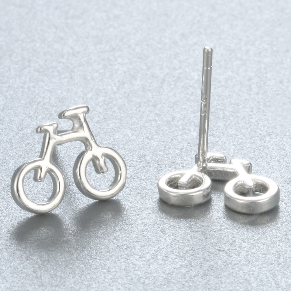 QIMING 925-Sterling-Silver Tiny Bicycle Stud Earrings For Women Men Jewelry Accessories Best Friend Gift Vintage Girls Earrings