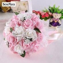 10 цветов, свадебный букет, свадебный букет с лентами, цветы для невесты, ПЭ Роза, для подружки невесты, свадебные поролоновые цветы, Роза