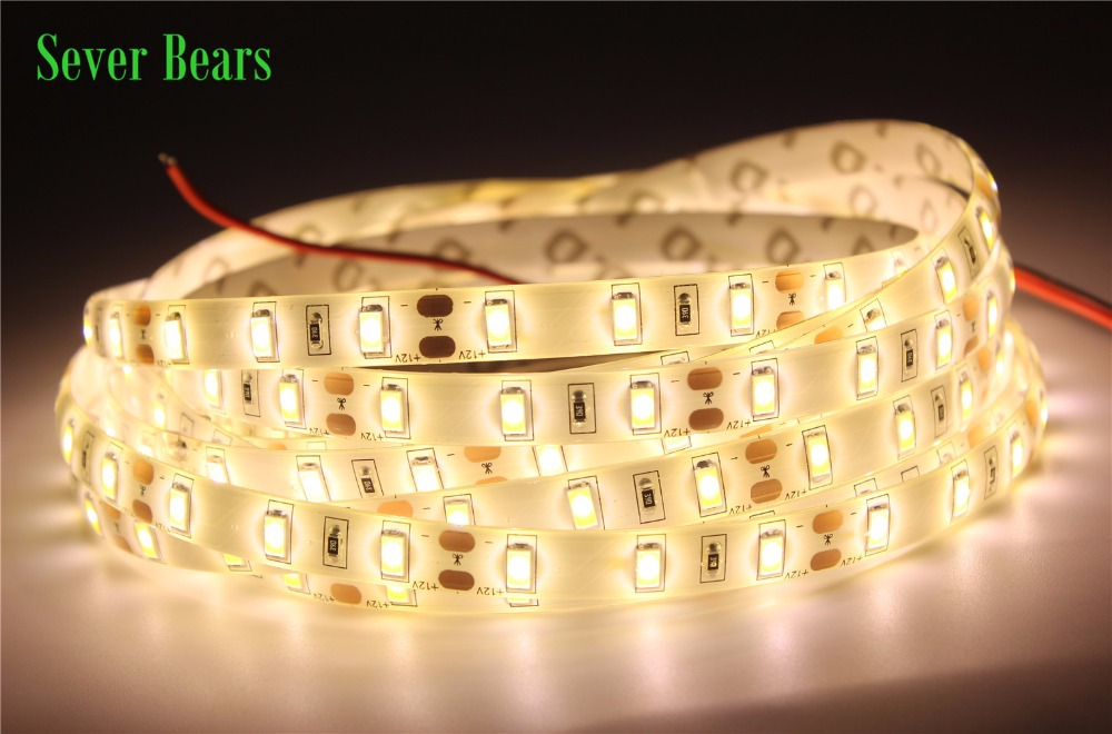 5m/lot Super Bright LED Strip Light 5630 5M 300LED Waterproof DC12V Flexible LED Strip,60LED/m, Warm White, White Free Shipping