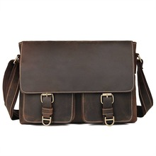 Brand Crazy Horse Leather Men Bag Trave Casual Business Vintage Ipad  Mens Messenger Fashion Crossbody bolsas male