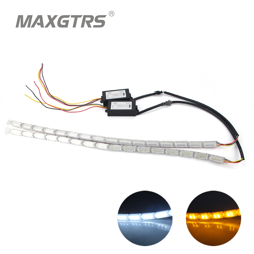цена на 2x Car Waterproof Flexible White/Amber Switchback LED Knight Rider Strip Light Headlight Sequential Flasher DRL Turn Signal