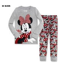 Belle Coton Printemps Automne Enfants Vêtements Ensemble À Manches Longues Fille Minnie Vêtements Tops + Pantalon pour 2-7 Ans bébé Fille Pyjamas Ensemble