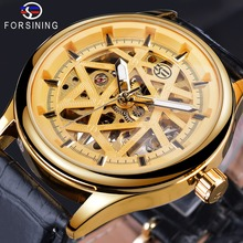 Forsining Golden 2019 Roman Retro Luxury Design Mens 3D Open Work Skeleton Mechanical Wrist Watches Top Brand Male Clock