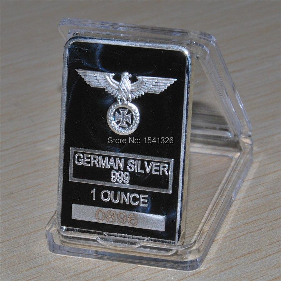 1 oz WWII German guerra águila Cruz de Hierro de diseño alemán Arte Barra de plata, 1 unids/lote envío libre