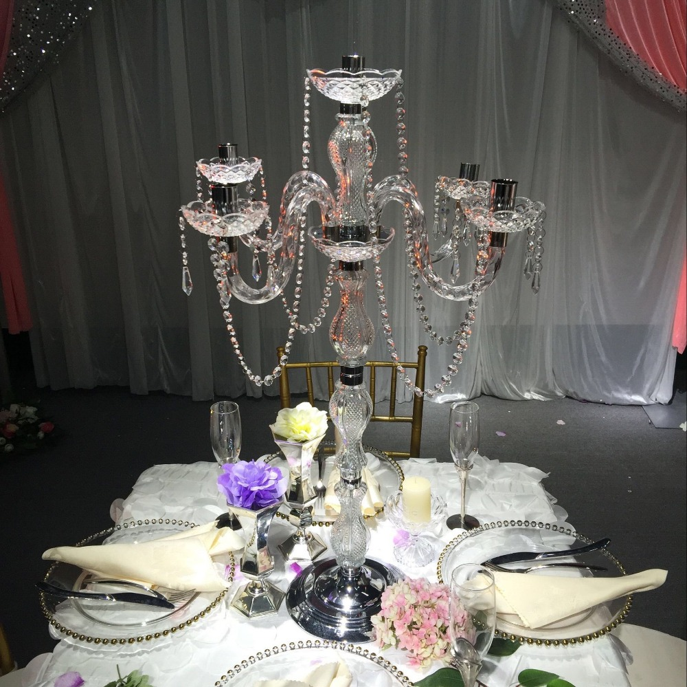 5 pcs wedding candle holder centerpiece 90cm height - Mesa tower crystal ...