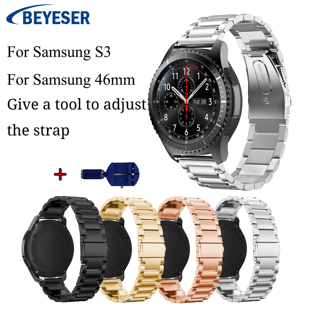 22mm For Gear S3 Frontier Strap Metal Stainless Steel Watchband For Samsung Galaxy watch 46mm watchstrap watch band wriststrap