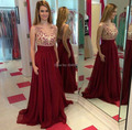Wine Red Chiffon A line Evening Dresses Beautiful Appliques 2017 Cheap Price High Quality Long Prom Gowns Formal