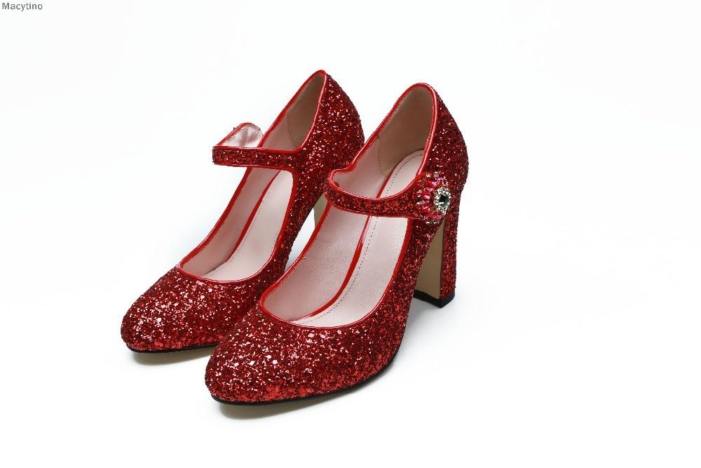 Новый Свадебные туфли для невесты женские каблуки обувь принцессы Золушки Рождественский Красный обувь для вечеринок
