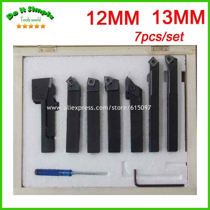 7pcs/set 12mm 13mm Hard Alloy Blade Turning Tool,Lathe Tool Kits Cutter , Durable Cutting Tools 2mm wide blade cutter rod 12mm outer diameter cutting arbor external grooving lathe tool holder width grooving parting cutting
