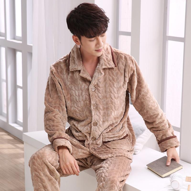 Men's Pajamas Flannel Autumn Winter Male Pyjama Homme Pijama Sleepwear Long-Sleeve V-Neck Lapel Cardigan Lounge Sleep Set M-3XL