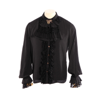 Gothic Elegant Black Chiffon Recreational Horn Sleeve Men's Shirts Fancy Gorgeous Stretch Punk Shirt Tops