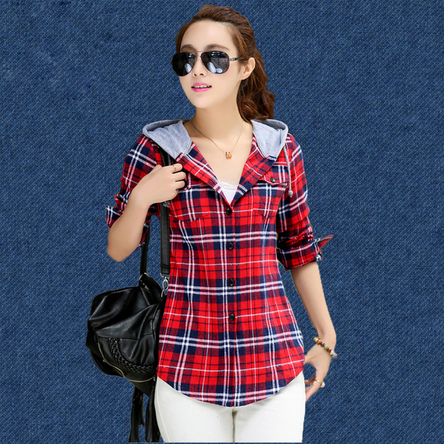 d3aee3d801f6e6 New Arrival 2017 Autumn Cotton Long Sleeve Red Checked Plaid Shirt Women  Hoodie Casual Fit Blouse Sweatshirt