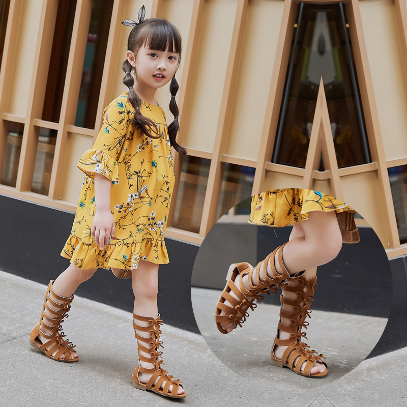 2018 Summer Hot Gladiator Boots High-Top Roman Girls Sandals With Bowtie, 2 Colors, Size 26-35