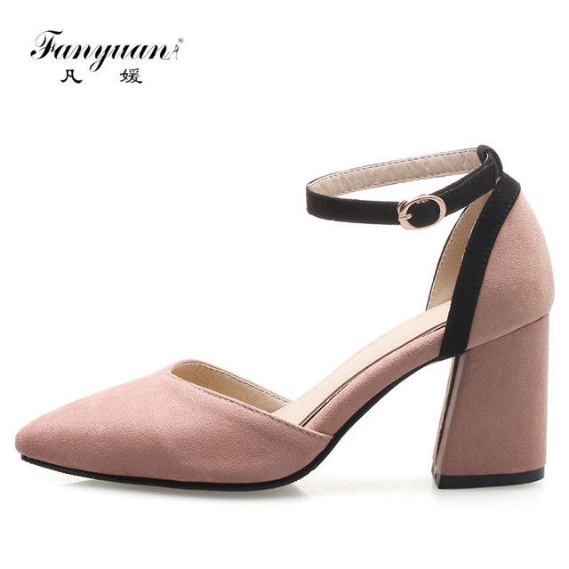 Fanyuan Ladies High Heels Mixed Colors Pointed Toe Sexy Ladies Party Dress  Shoes Women Ankle Straps Heels Two Piece Footwear aa6d8ee253dc