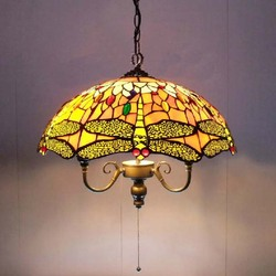 Tiffany Glas Kroonluchter Westerse Stijl Slaapkamer Restaurants Dragonfly Lamp Verlichting Rustieke Kroonluchter Dia 45 cm H80cm