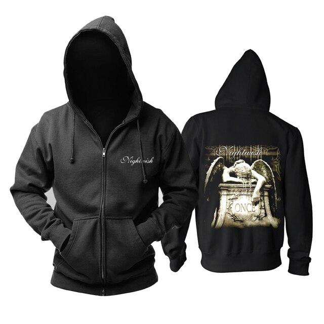 26 designs Harajuku cry angel Nightwish Cotton Gothic Hoodies shell jacket zipper rock Sweatshirt sudadera fleece Outerwear