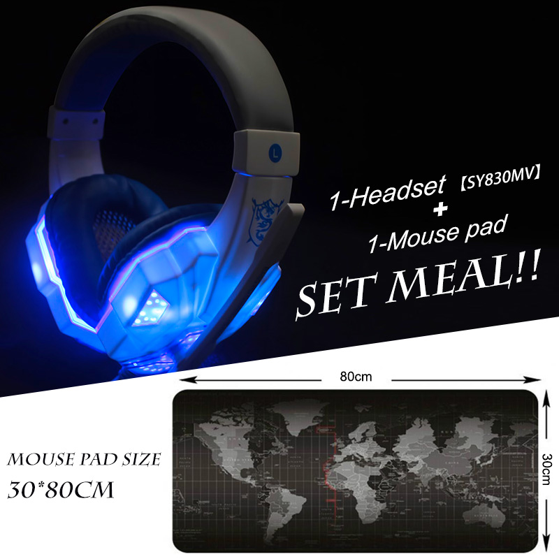 Soyto EACH SY830 Gaming Headset Headphones with Mic Led + 300*800mm Mouse pad for PC Game