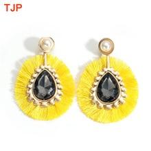 New Ethnic Bohemian Tassel Earrings for Women Pearls Zircon Long Rope Fringes Oval Drop Dangle Statement Party Jewelry