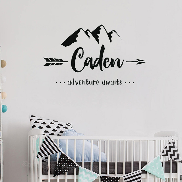 personalized name wall stickers baby nursery room mountain vinyl
