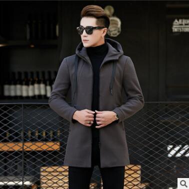 Automne de laine pour hommes pardessus jeunes épaississement long et moyen chapeau pur laine de couleur manteau version de hommes qz-172