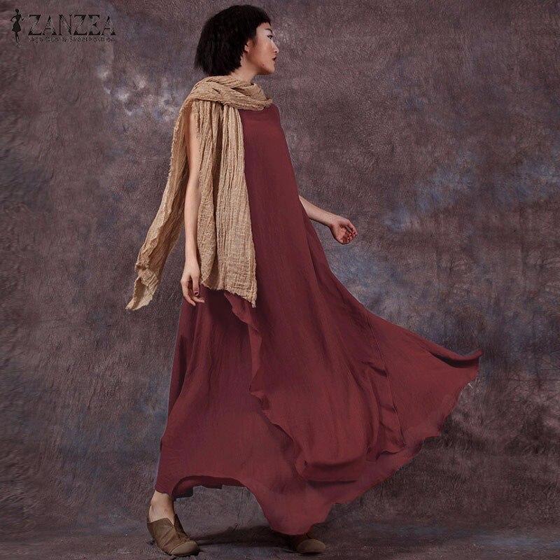 2017 verano elegante de algodón de lino del vintage dress vestidos vestidos larg
