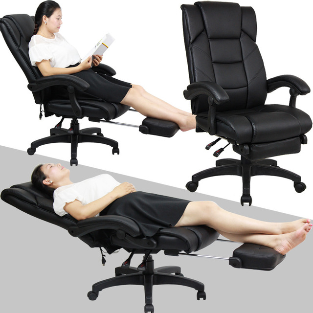 Simple Modern Soft Leisure Lying Boss Chair Lifting Swivel Computer Chair  Household Ergonomic Office Leather Chair