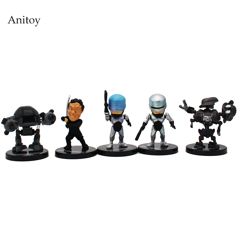 5 pcs/set Cartoon  RoboCop PVC Action Figures Collectible Model Toys 6.5cm KT4225 12pcs set children kids toys gift mini figures toys little pet animal cat dog lps action figures