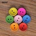 Блестящие деревянные Швейные Кнопки скрапбукинга Круглые разноцветные разные на два отверстия диаметром 15 мм. 50 шт. Costura Botones bottoni botoes