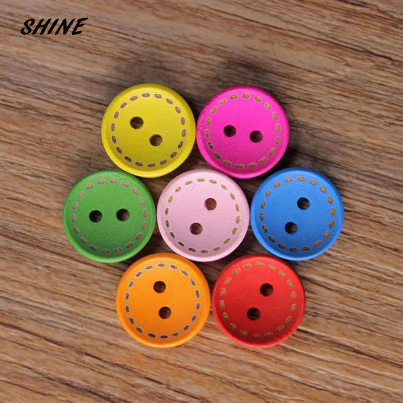 Błyszczące drewniane guziki Scrapbooking okrągłe kolorowe mieszane dwa otwory 15mm Dia. 50 sztuk botonów Costura bottoni botoes