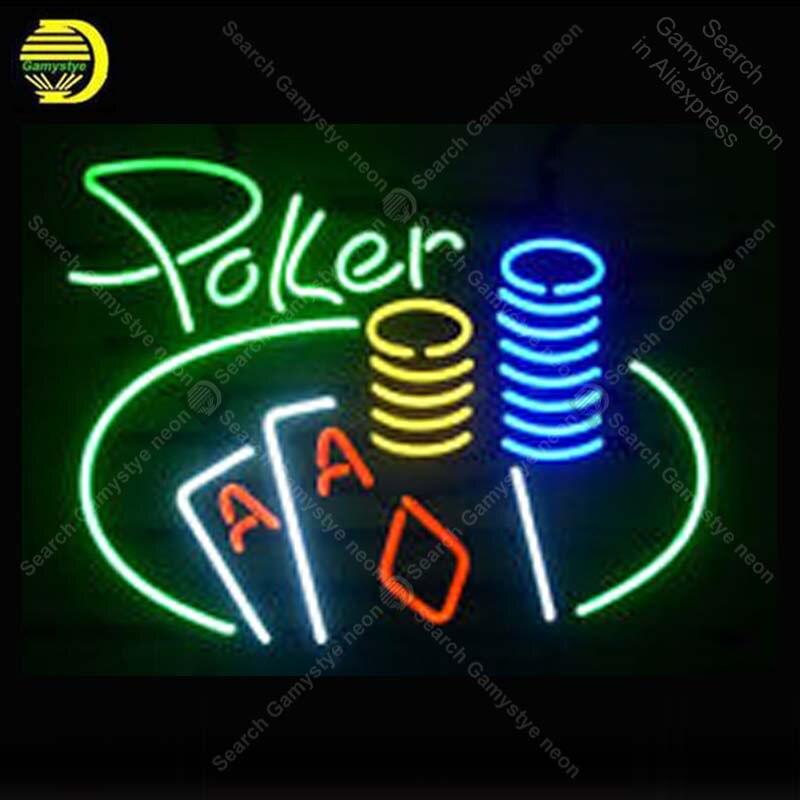 Cursive Green Poker неоновая световая вывеска неоновая вывеска лампы для украшения игровой комнаты стеклянная трубка Пивной пивной Пивной магазин