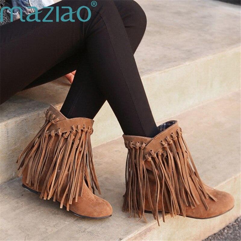 Модные теплые зимние сапоги увеличивающие рост зимние сапоги ботильоны круглый носок Ленточки полусапожки народная Стиль MAZIAO