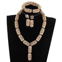 Fashion Copper Gold Dubai Jewelry Pendant Necklace Set Rhinestone Bridal Indian Jewelry Set for Women Birthday Gift Set ABH868