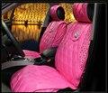Nuevo accesorios autos de diamante papá lujo universales corona cubierta de asiento de coche en General cuatro estaciones de color rosa PU Leather Car Seat Covers
