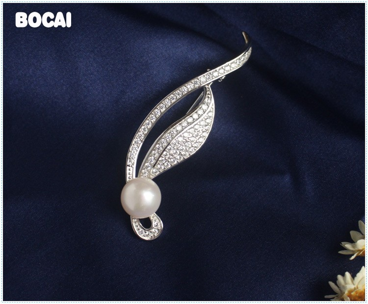 Natural pearl brooch in 925 sterling silver miniature brooch fashion rhinestone shawl buckle цена