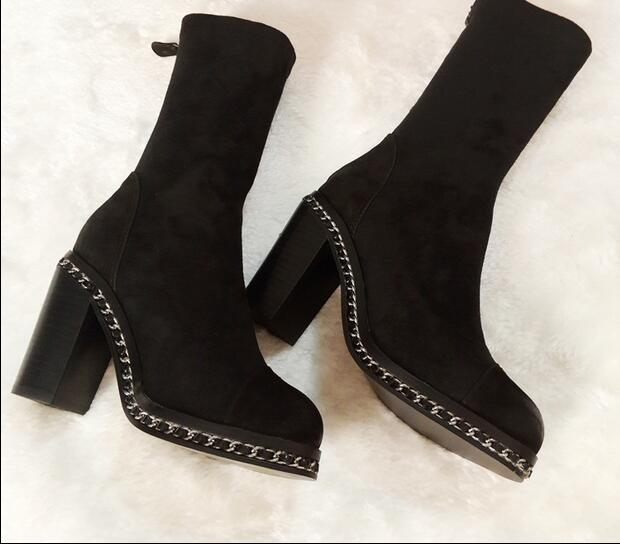 2017 New Fashion Chain Mid-Half Short Booties Spike Thick Heels Round Toe Zipper Black Suede Leather Winter Women Short Boots