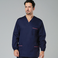 High quality hospital medical scrubs women uniform dark blue cotton polyester surgical doctor uniform