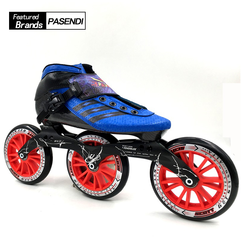 Professional Speed Skate Shoes 3x125 Roller Skates Boots Women/Men Inline Skating Shoes Adults 125mm Big Round Wheel professional carbon fiber shoes roller skating boot 3x125 frame women men inline skates adults kids 125mm 2017 speed skate shoes
