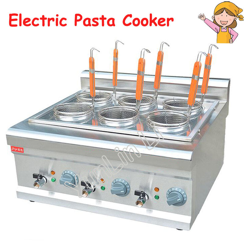 Electric Pasta Cooker Commercial Counter Top Noodle Cooking Machine Stainless Steel With 6 Mesh Sieve Noodle Cooker FY-6M 30pcs set new arrive smokeless moxa stick handmade acupuncture massage moxibustion moxa wormwood