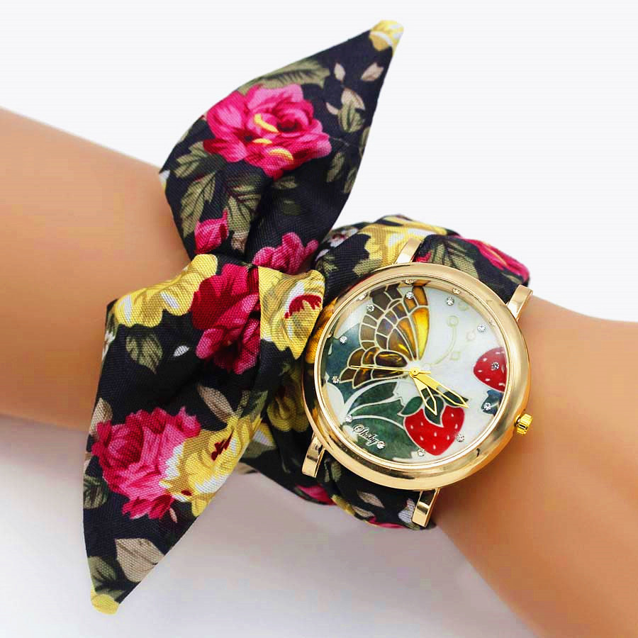 Shsby Brand Fashion Rose Gold Floral Cloth Band Creative Flower Wrist Watch Casual Women Quartz Watches Gift Relogio Feminino