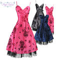 Pleated V Neck Floral Bow  Party Dress Cocktail Dresses 017