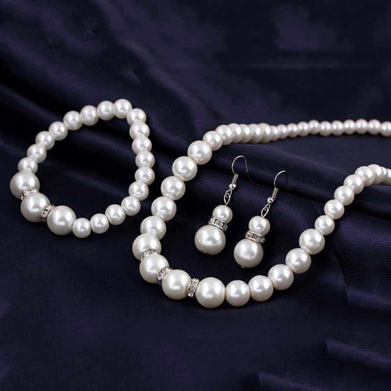 אירופה מותג מדומה פנינה שרשרת צמיד עגילי נשים תכשיטי סטי שיבוץ CZ הכלה סט נשים סיטונאי תכשיטים